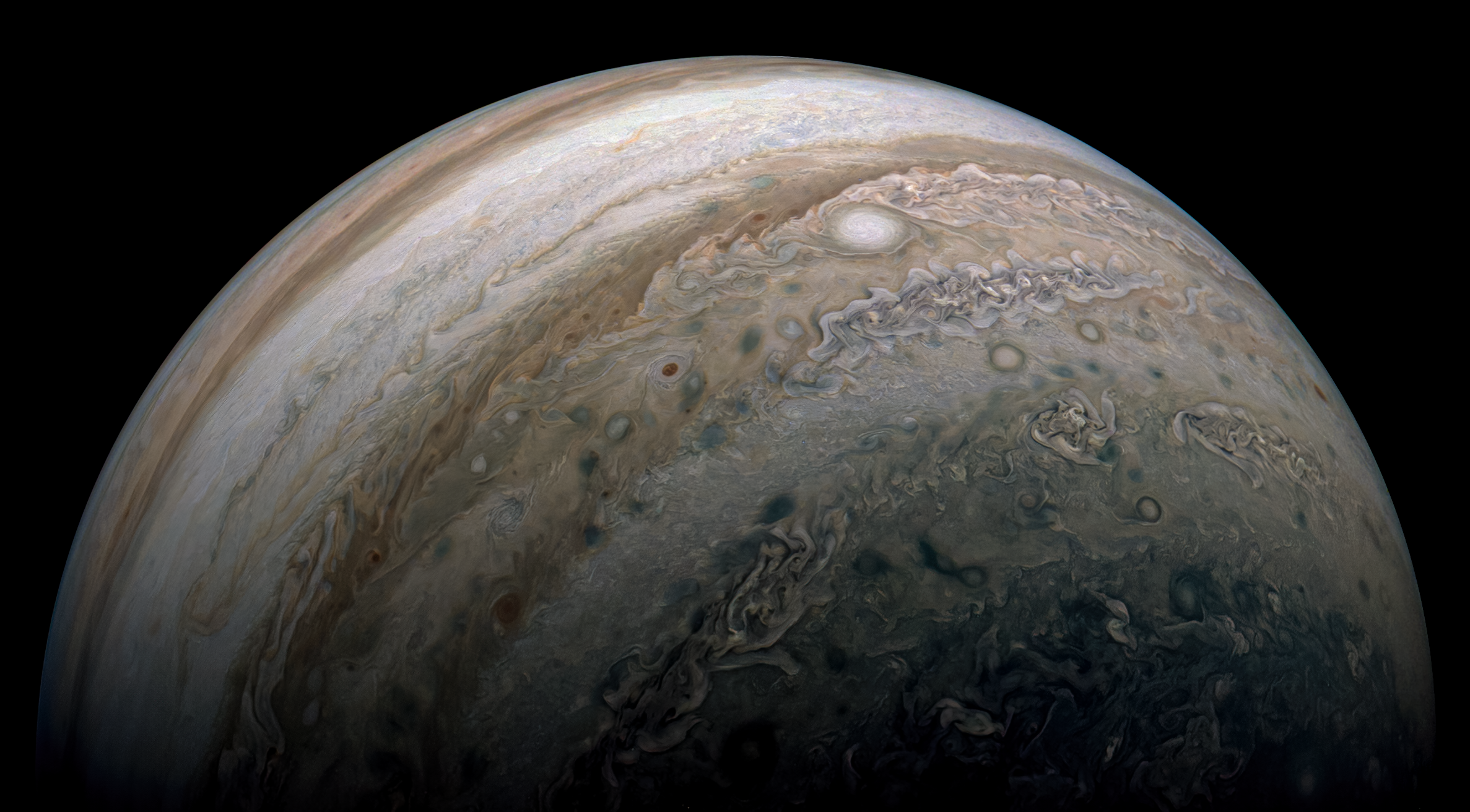 Jupiter imaged in November 2020 by the Juno spacecraft on its 30th perijove. Processed by Kevin Gill.