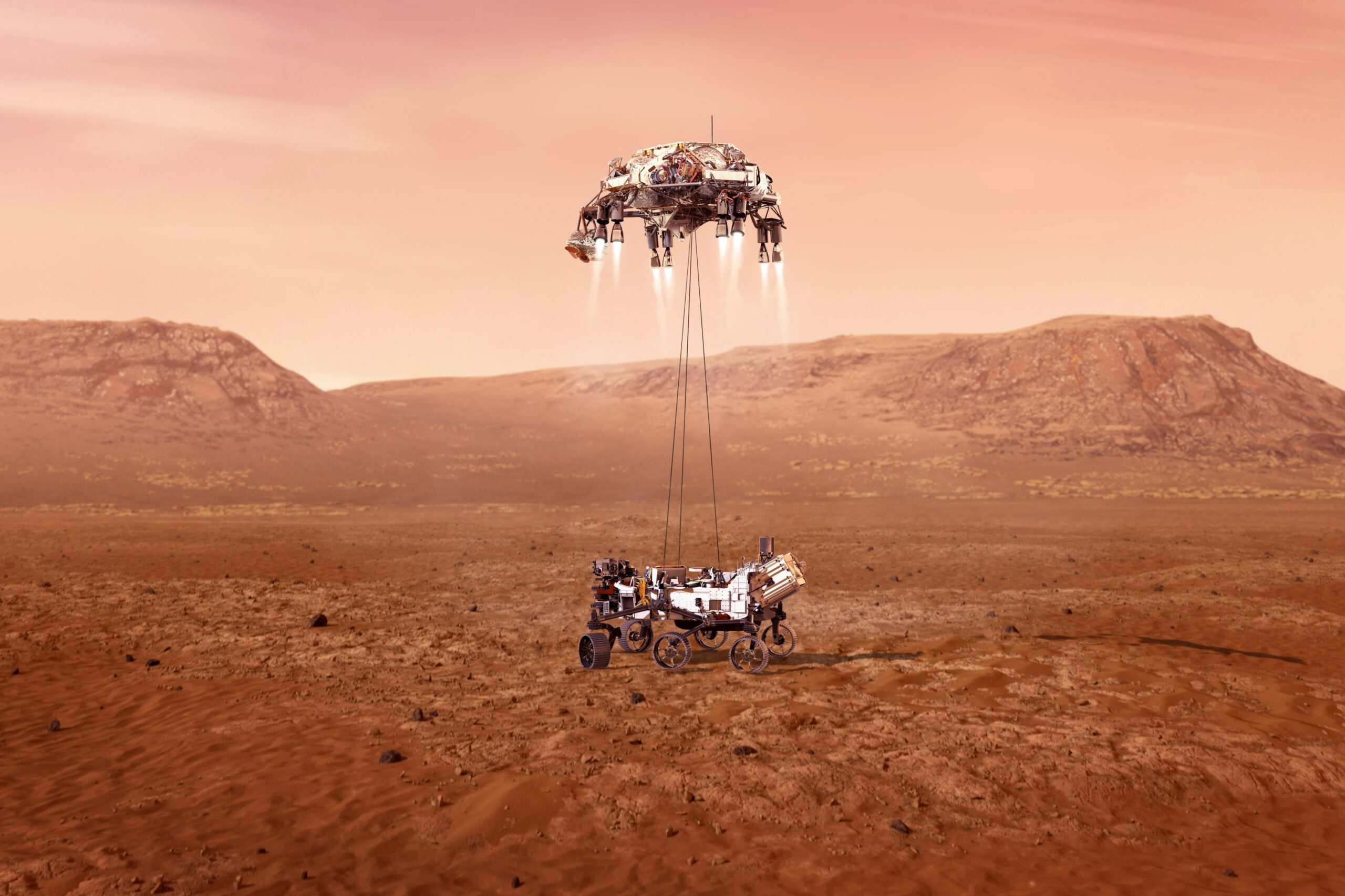 Artist's rendition of NASA's Perseverance rover landing on Mars beneath its skycrane