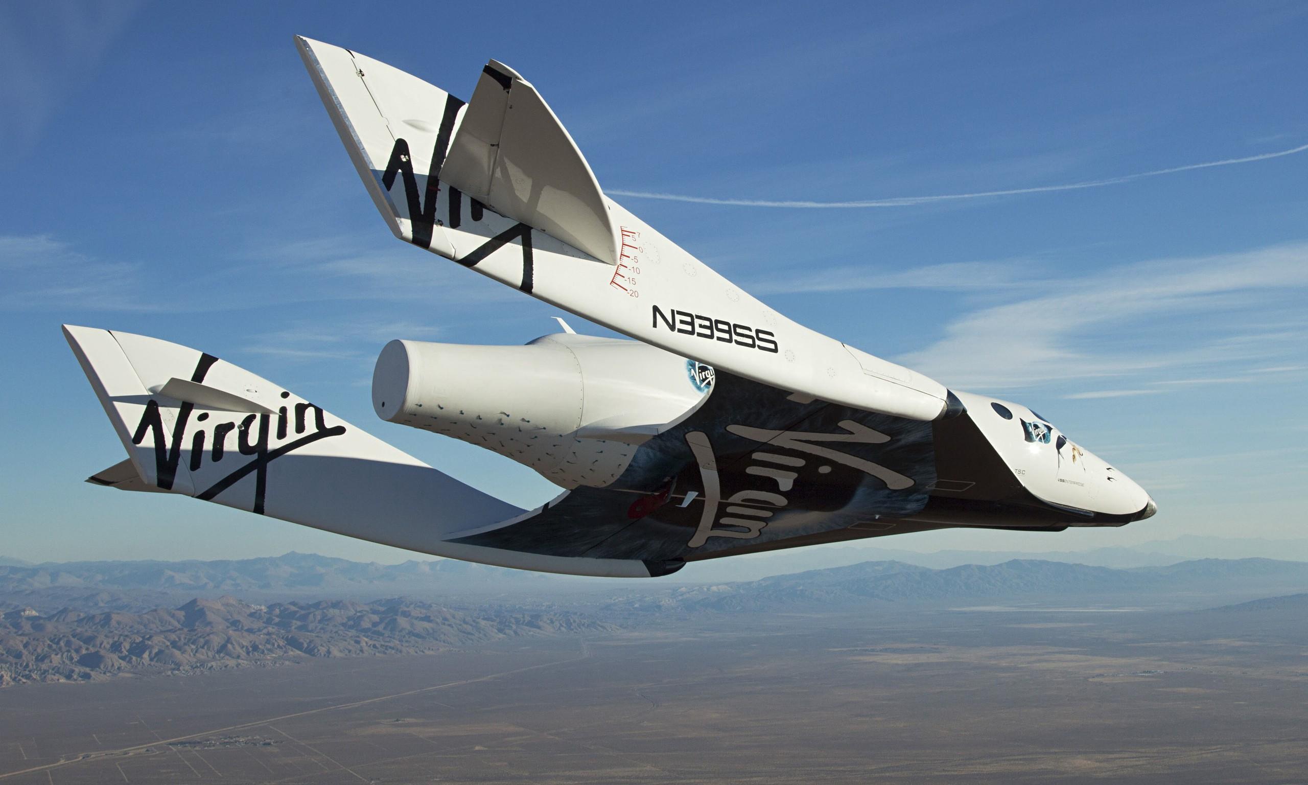 Virgin Galactic's SpaceShipTwo in flight above the Mojave Desert