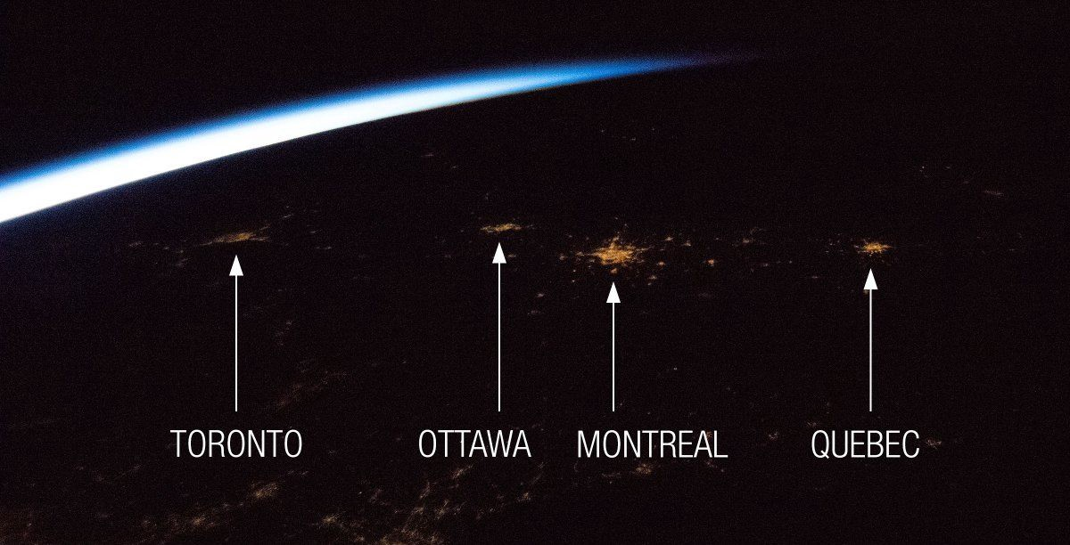 Canadian Astronaut David Saint-Jacques snapped this view of some of Canada's major cities at night in a single frame from the Cupola window aboard the International Space Station in 2019.