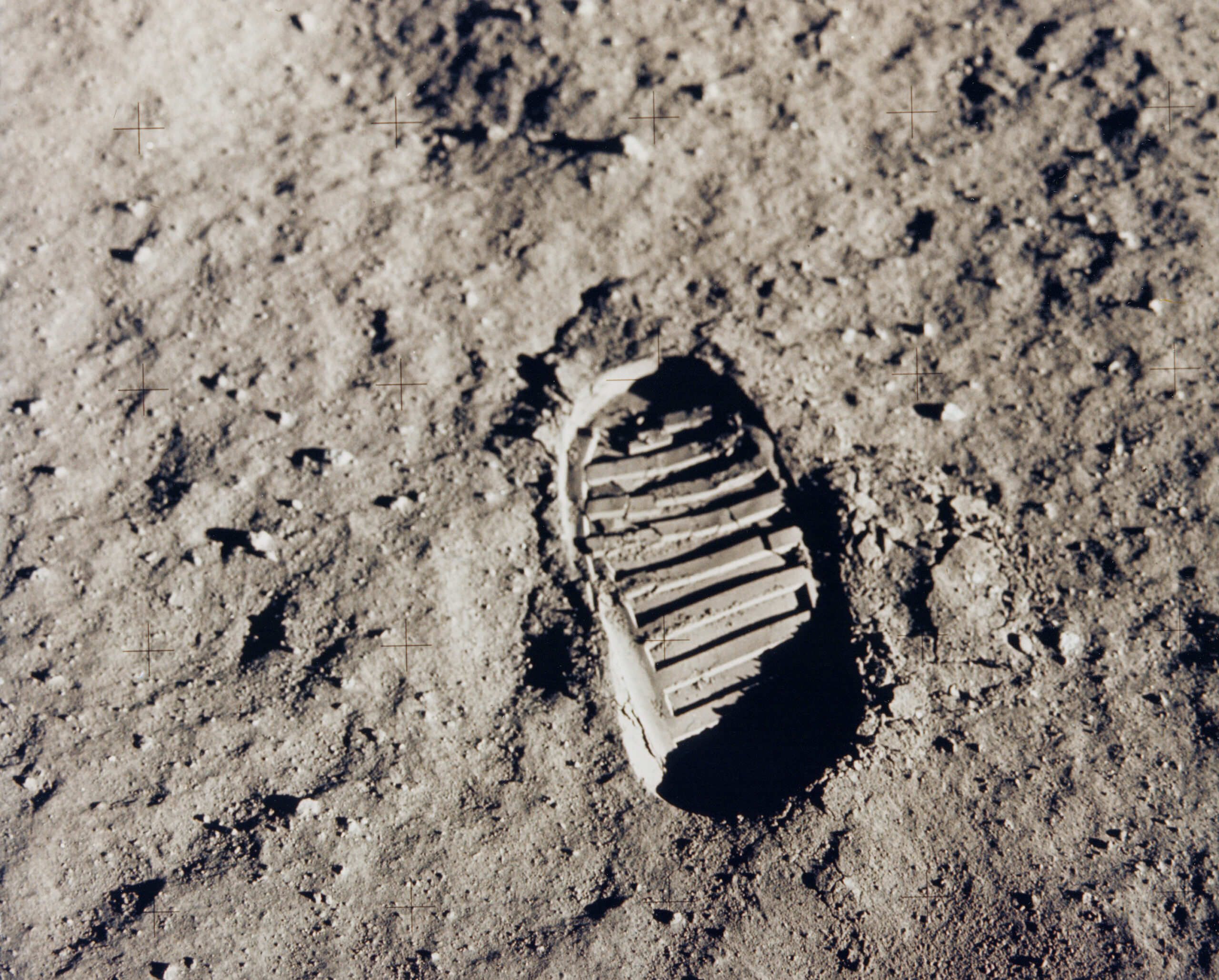 Buzz Aldrin's bootprint on the surface of the Moon after the Apollo 11 historic first Moon landing
