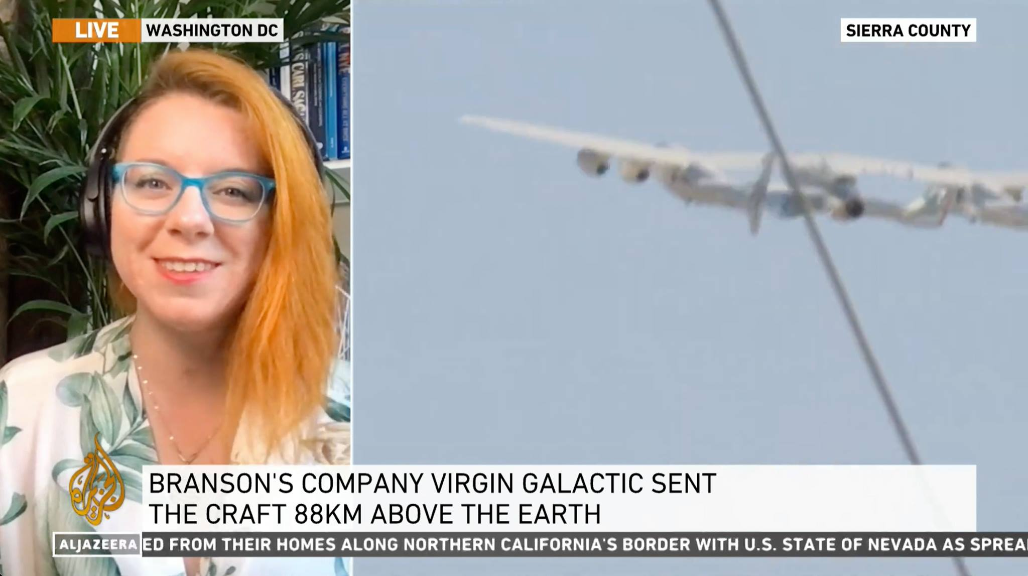 Dr. Tanya Harrison discusses the Virgin Galactic Unity 22 flight on Al Jazeera English