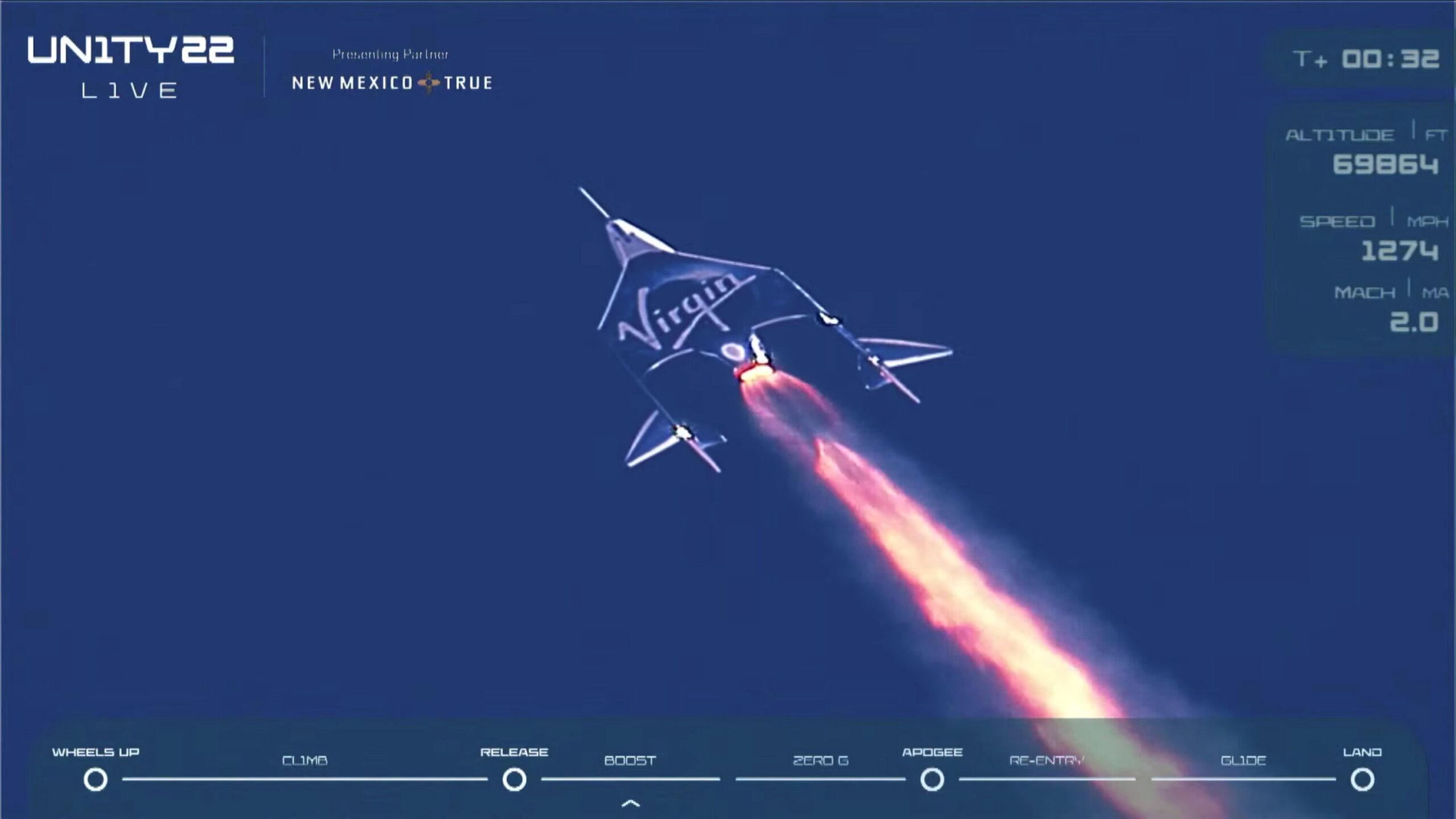 VSS Unity in flight on July 11, 2021